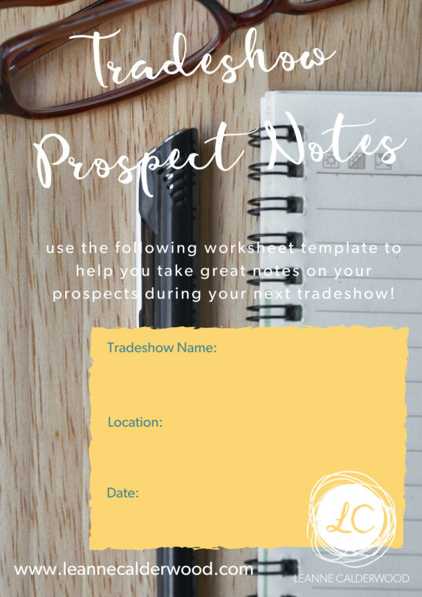 tradeshow prospect notes page 1